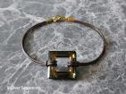 Leather Fashion Bracelet With Golden Brown Green Square Swarovski Crystal | Silver Sensations